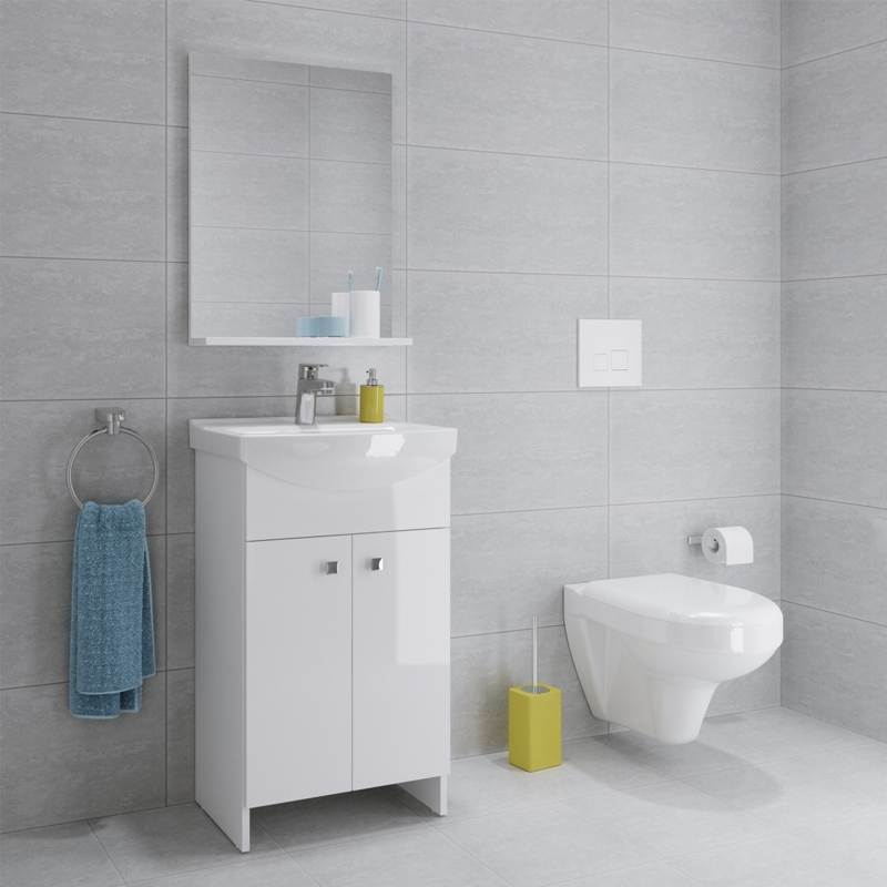 Set mobilier stativ, cu lavoar Cersania, 40 cm, alb, Sati