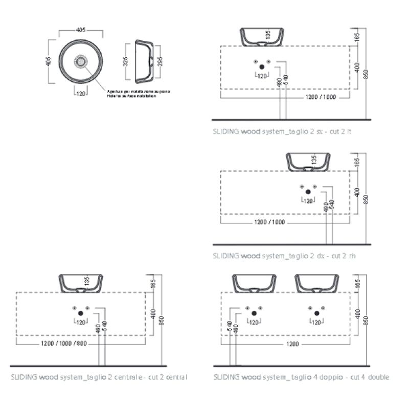 Lavoar pe blat Hatria, Pencil, rotund, 40 cm, alb