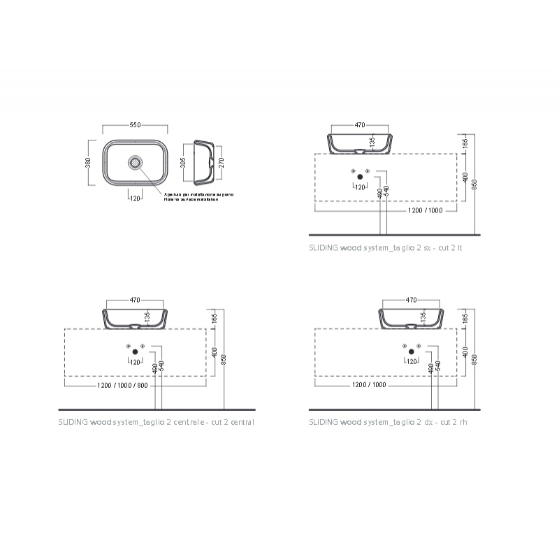 Lavoar pe blat Hatria, Pencil, dreptunghiular, 55 x 38 cm, alb