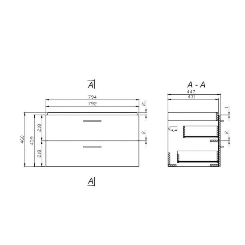 Set mobilier suspendat si lavoar Cersanit, Lara, 80 x 45 cm, alb