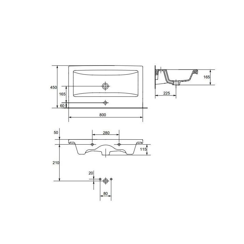 Set mobilier suspendat si lavoar Cersanit, Lara, 80 x 45 cm, nuc