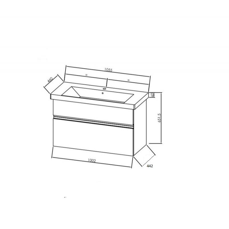 Mobilier pentru lavoar, 105 cm, alb + Lavoar pentru mobilier, 105 cm, alb, Oxana