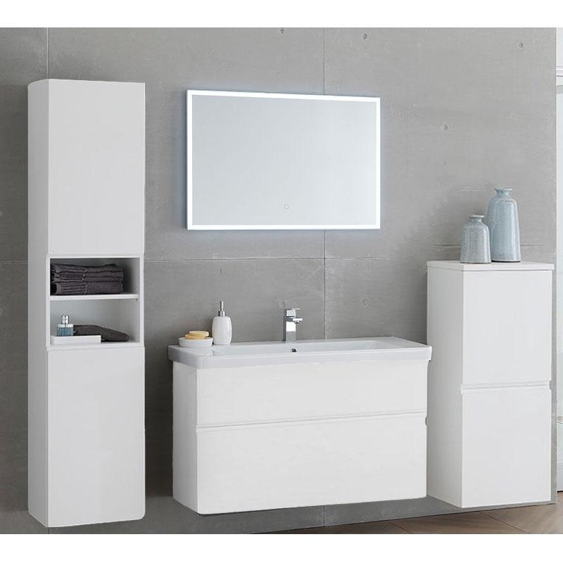 Set mobilier suspendat si lavoar Kolpasan, Oxana, 105 cm , alb mat
