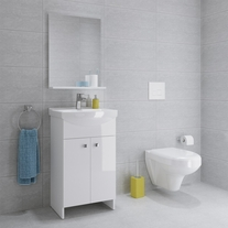 Set mobilier stativ, cu lavoar Cersania, 50 cm, alb, Sati