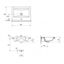Set mobilier suspendat si lavoar Cersanit, Lara, cu doua sertare, 60 x 45 cm, nuc