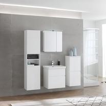 Dulap cu oglinda, cu iluminare integrata, 60 cm, alb, Oxana