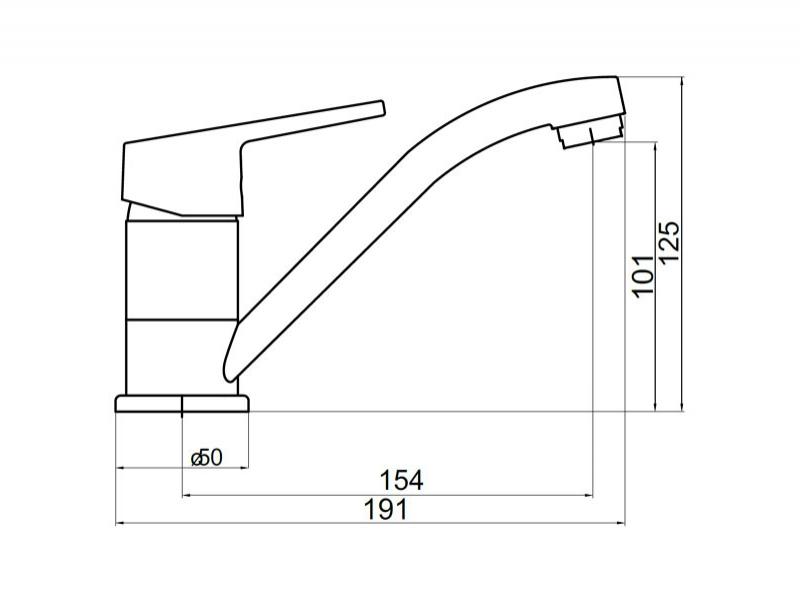 Baterie lavoar/bucatarie, pipa medie, Titania Iris New