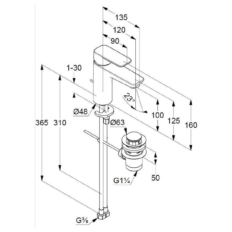 Baterie lavoar, cu ventil metalic, H = 10 cm, crom, Pure & Style