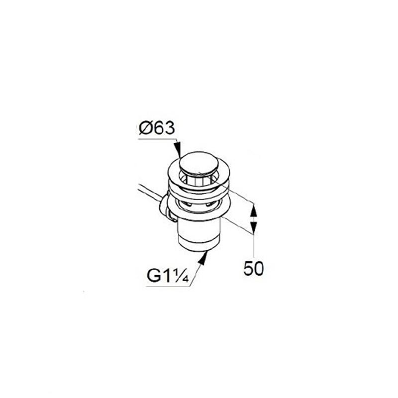 Baterie lavoar Kludi, Pure & Style, H = 7.5 cm, cu ventil metalic,, crom