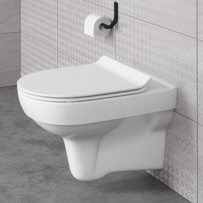 Set vas WC suspendat Cersanit, City, Rimless, cu capac Soft-Close si Easy Off inclus