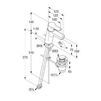 Baterie lavoar, ventil metalic, H = 7 cm, crom, Pure & Easy