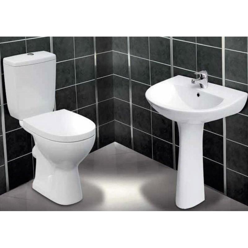 Set vas WC Cersanit, Senator, stativ, cu rezervor si capac din polipropilena inclus