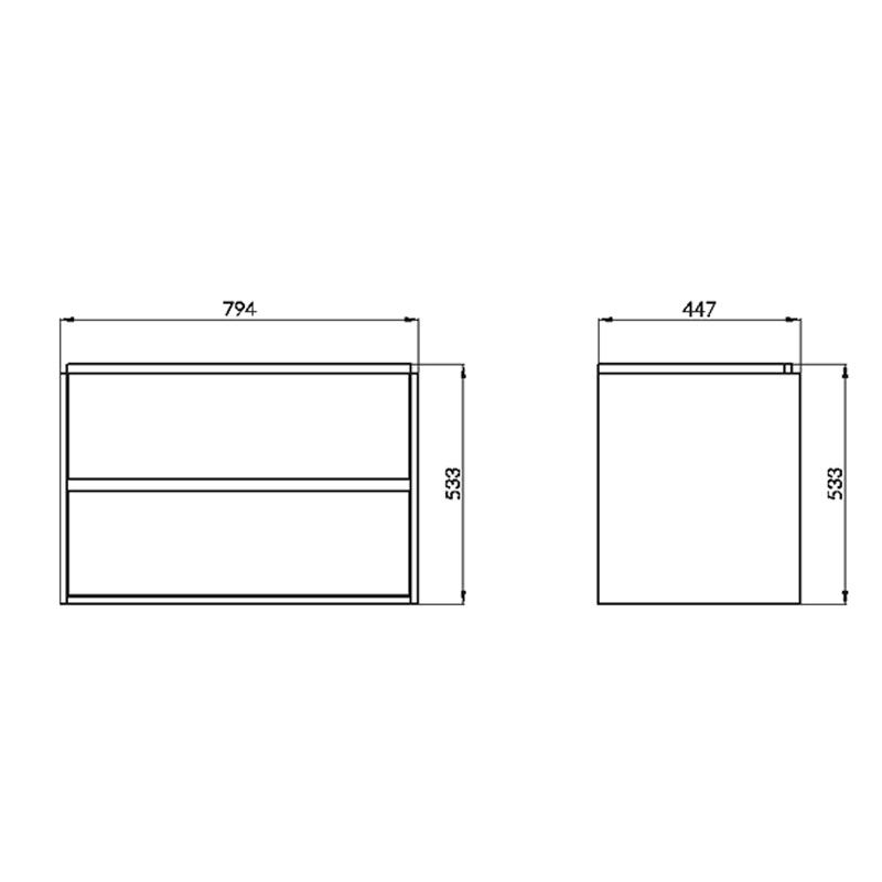 Mobilier suspendat Cersanit, Crea, cu doua sertare, 80 cm, alb