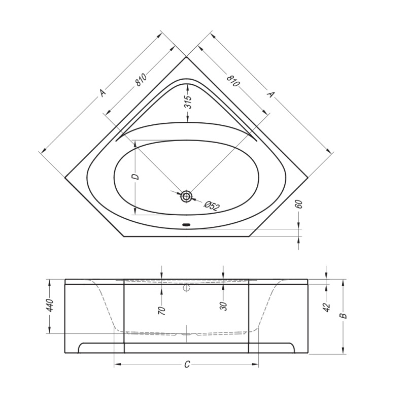 Kolpasan, Evelin, cada de colt cu hidromasaj, pentru inzidire, 140 x 140 cm