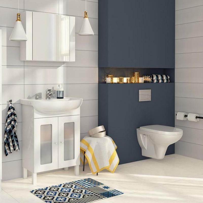 Set vas wc stativ Cersanit, Arteco New, cu Clean On, rezervor si capac Soft Close inclus,