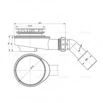 Sifon cadita Alcaplast, diametrul de scurgere 90 mm, crom