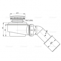 Sifon cadita dus Alcaplast, 66 mm, cu inaltime redusa, cu cot evacuare, crom