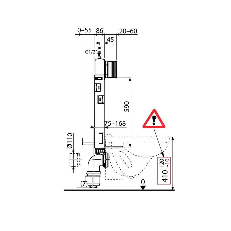 Rezervor  incastrat Alcaplast, Renovmodul, slim, pentru montare in zidarie, pentru vas wc suspendat