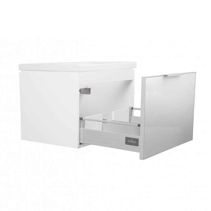Mobilier suspendat Cersanit, Stillo, pentru lavoar pe blat, 80 cm, front gri + lateral alb