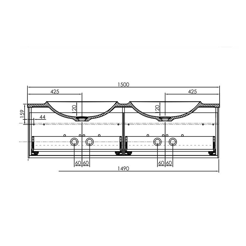 Set mobilier suspendat si lavoar Kolpasan, Pandora, 150 cm, lemn natur