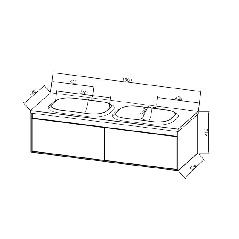 Set mobilier suspendat si lavoar Kolpasan, Pandora, 150 cm, alb