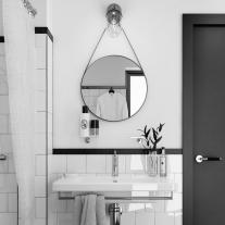Oglinda rotunda Fluminia, Mona, cu margine din piele, 60 cm, neagra