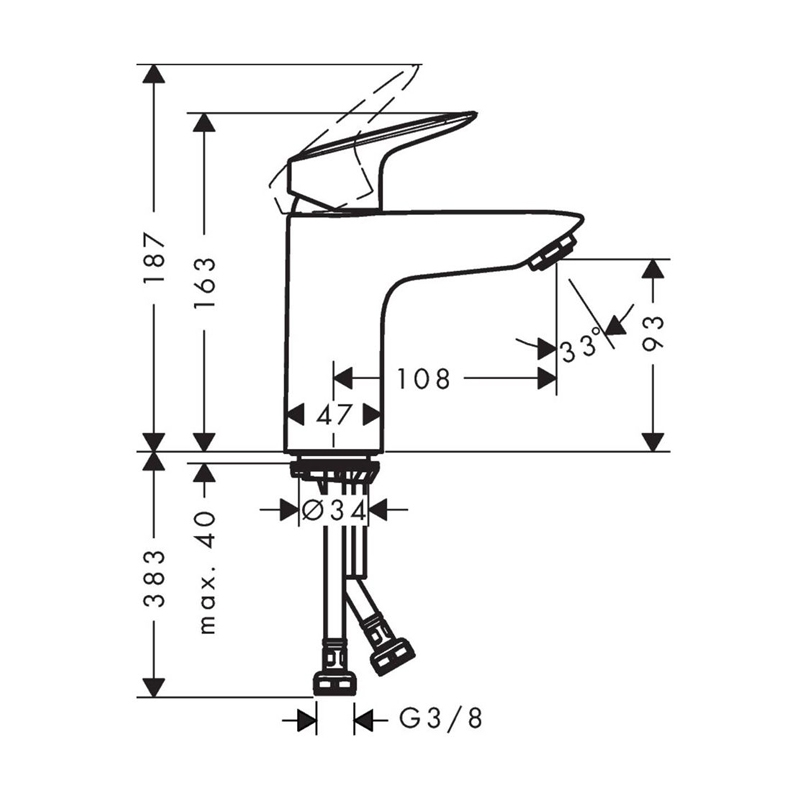 Schita-tehnica-Baterie-lavoar-fara-ventil-Hansgrohe