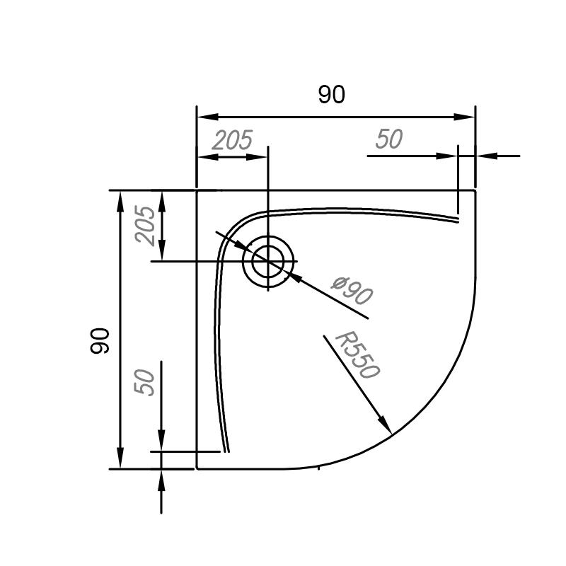 Schita tehnica cadita de dus semirotunda Kolpasan, Evelin R 90 x 90 cm, R55, acril