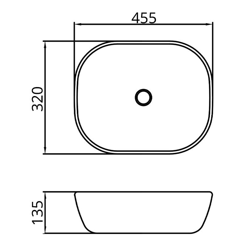 Lavoar pe blat Fluminia, Crius, dreptunghiular, alb-negru, 45.5 x 32 cm