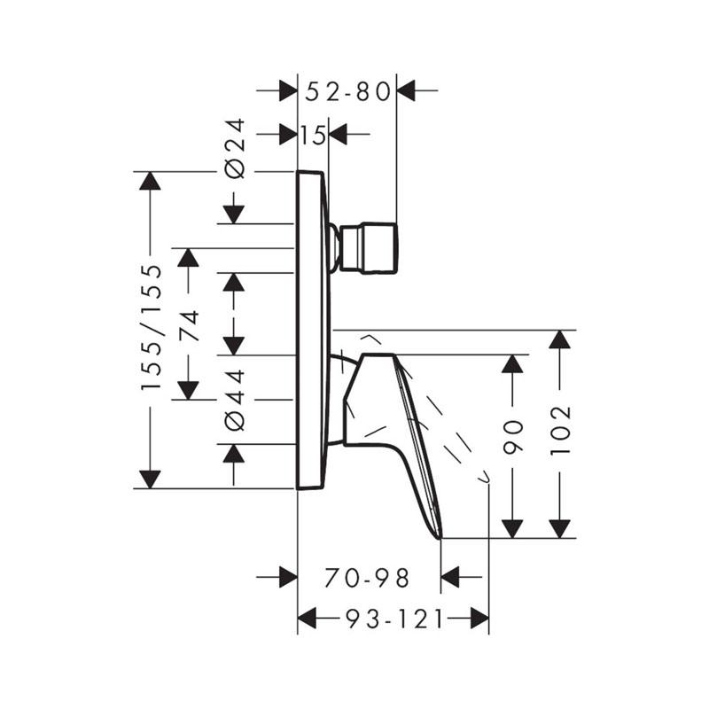 Schita-tehnica-mixer-dus-Hansgrohe-Logis
