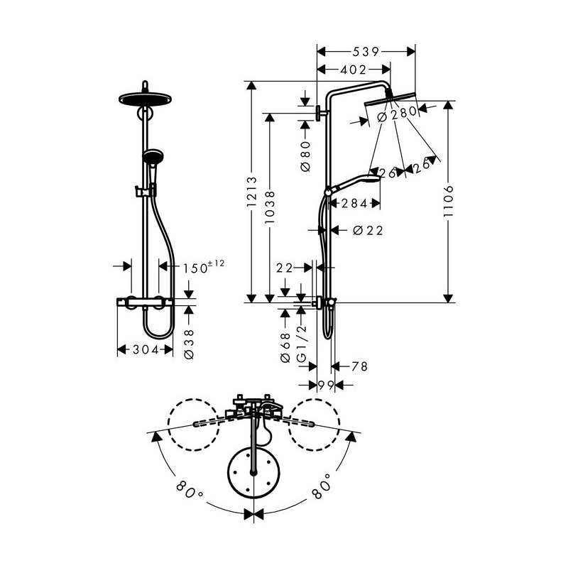 Schita-tehnica-Coloana-dus-termostata-Hansgrohe-Croma-Select-S-280
