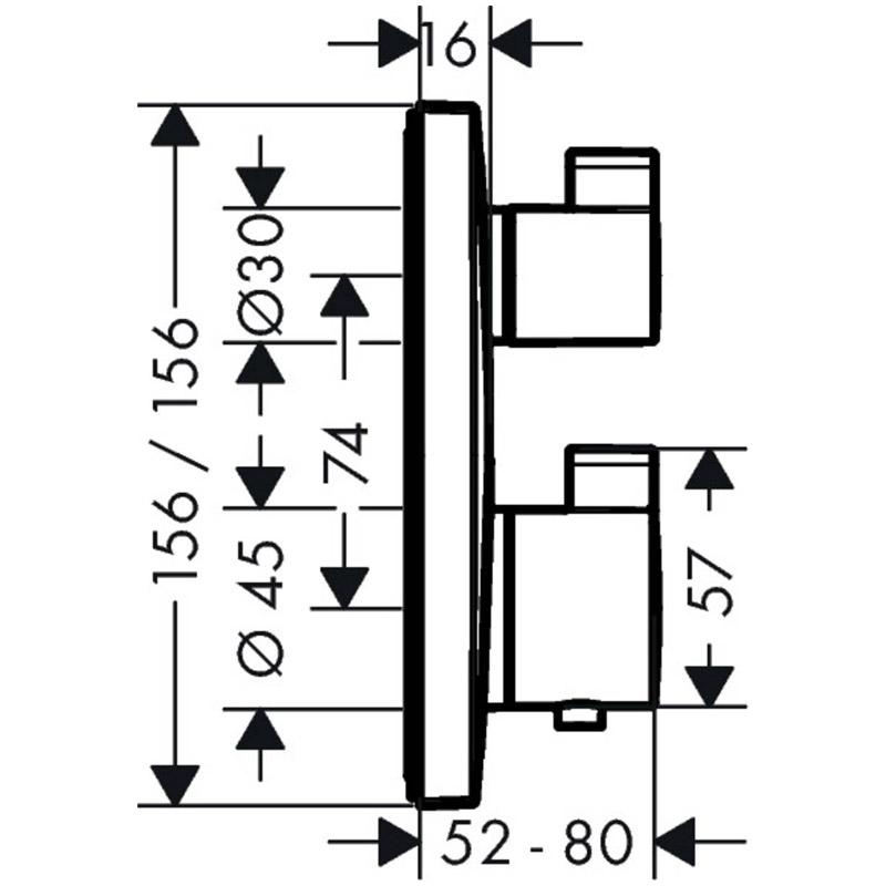 Set baterie cada dus cu termostat si corp incastrat, Hansgrohe, Ecostat Square, Crom