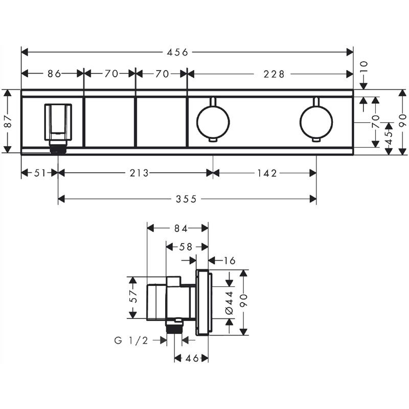 Baterie cu termostatat Hansgrohe, RainSelect, cu 2 functii, cu suport pentru para de dus, crom