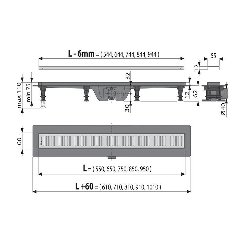 Rigola pentru dus Alcaplast, Simple, 750mm
