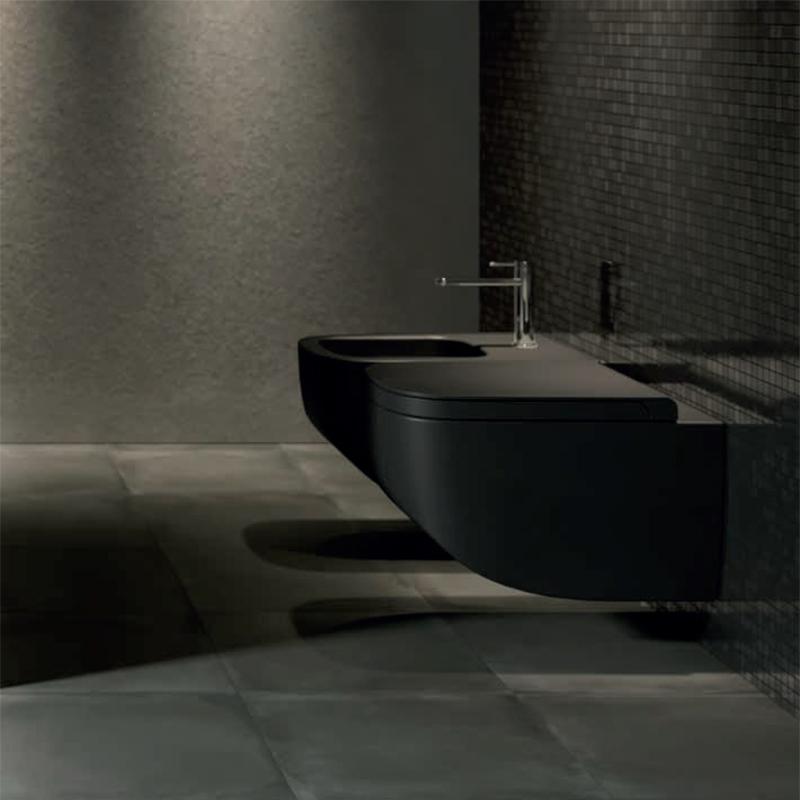 Vas WC suspendat Hatria, Next, negru mat, antibacterian, rimless
