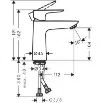 Baterie de lavoar cu ventil, Hansgrohe, Talis E 110, Crom