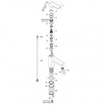 Baterie lavoar cu ventil 100, Hansgrohe, Metropol, Crom