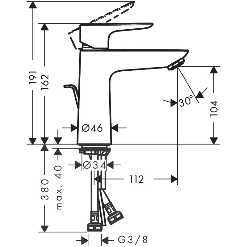 Baterie lavoar cu ventil click clack, Hansgrohe, Talis 110, Negru mat