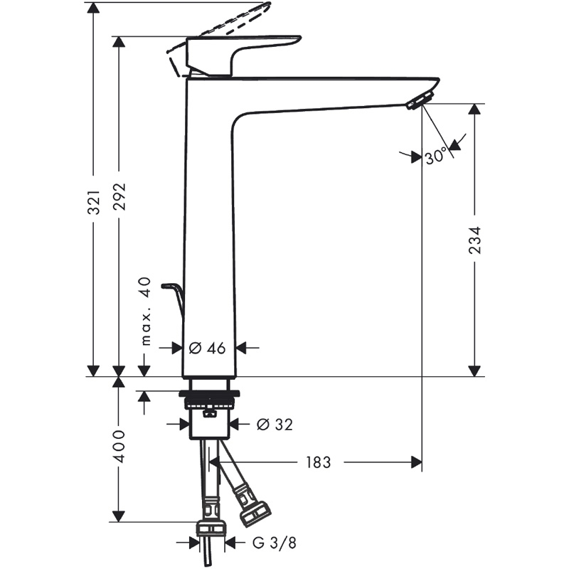Baterie lavoar cu ventil, Hansgrohe, Talis E 240, Negru mat