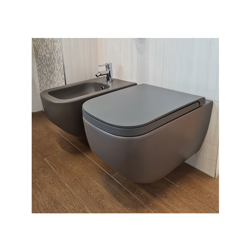 Vas WC suspendat Hatria, Next, antracit mat, antibacterian, rimless