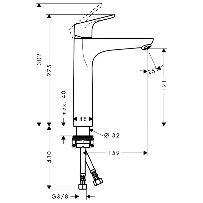 Baterie lavoar fara ventil, Hansgrohe, Focus 190, Crom