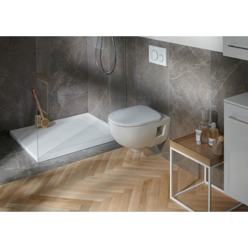 Vas wc suspendat Geberit, Selnova, forma partial inchisa, rimfree, alb