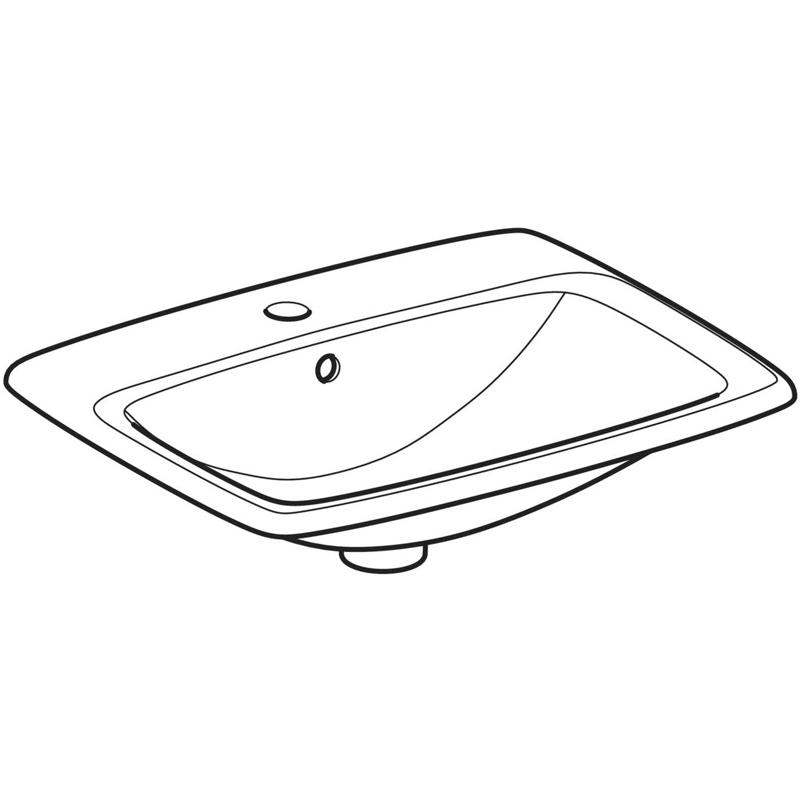 Lavoar incastrat, Geberit, Selnova Square, 55 cm, alb