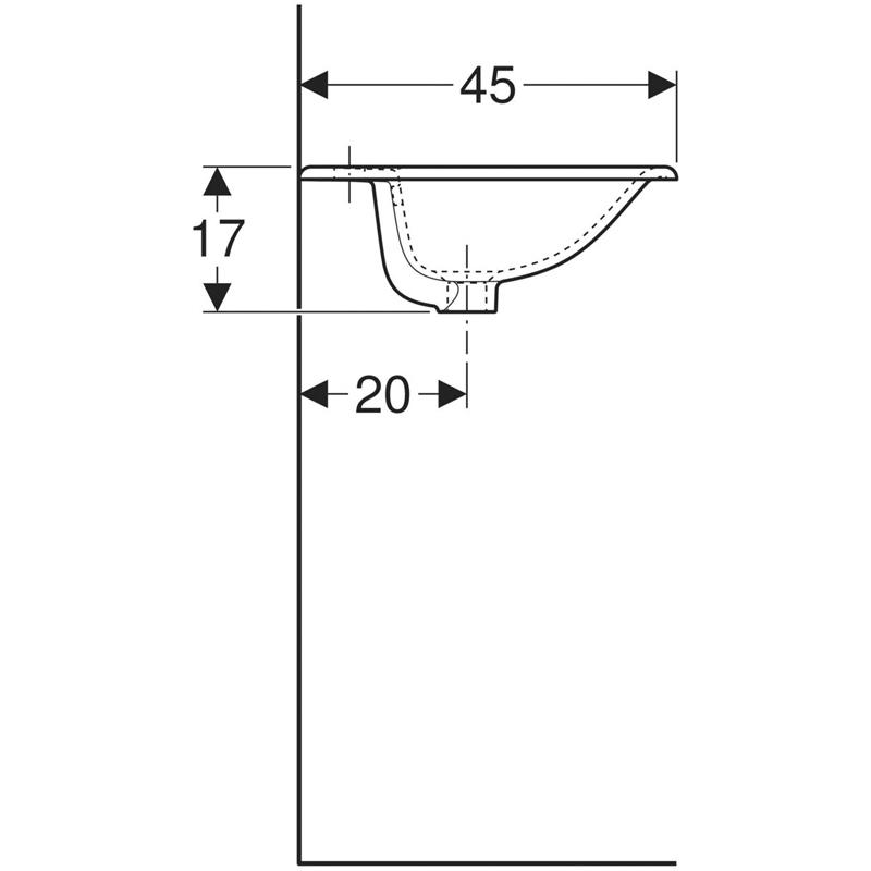 Lavoar incastrat, Geberit, Selnova Square, 60 cm, alb