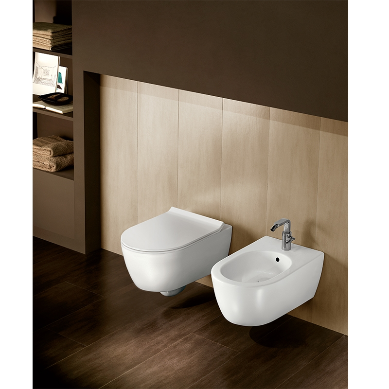 Set vas WC suspendat Hatria, Fusion, rimless, alb