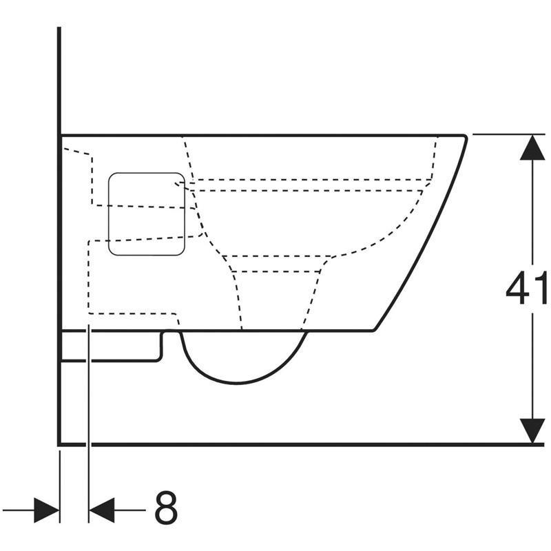 Vas WC suspendat Geberit, Selnova Square, forma partial inchisa, rimfree, alb