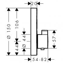 Baterie cu termostatat Hansgrohe, ShowerSelect S, cu 2 functii, negru mat