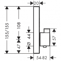 Baterie de dus termostatata, Hansgrohe, ShowerSelect, Negru mat