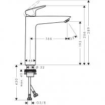Baterie lavoar fara ventil, Hansgrohe, Logis 190, Crom