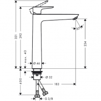 Baterie lavoar fara ventil, Hansgrohe, Talis E 240
